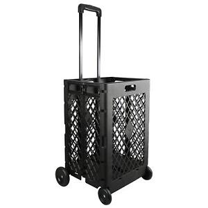 Portable Rolling Shopping Cart Basket Storage Folding Wheel Utility Grocery New