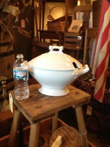 Large Antique Early Maddock White Ironstone Oval Soup Tureen Cover Excellent
