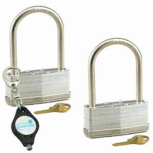 Master Lock 3 1 4in Wide Steel Pin Tumbler Padlock Ml101 2pk Keychain Light