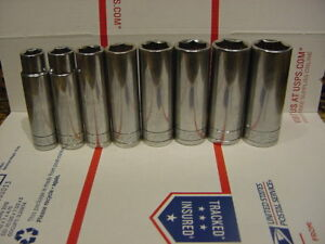 Sk S k Tools 8pc 1 2 Drive Sae Deep 6 Point Socket Set 1 2 To 15 16