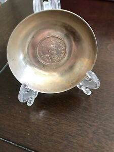 Antique Persian 84 Silver Coin Mounted Dish Hand Chased Reza Shah 2000 Dinar