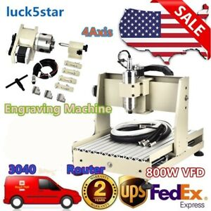 4 Axis 3040 Cnc Router Engraver 3d Engraving Milling Cutter Machine 800w Vfd