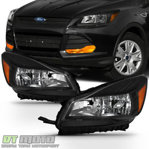 Black 2013 2016 Ford Escape Headlights Halogen Headlamps Replacement Left Right