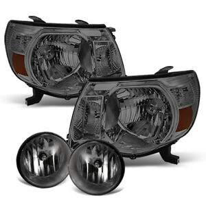 For Smoked 2005 2011 Toyota Tacoma Headlights Fog Lamps W Switch Left Right