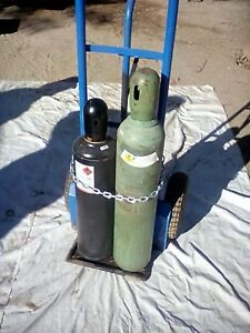 Oxy actetyline Torch Set Full Tanks Guages 50ft Hose Cart