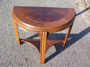 Antique Art Deco Walnut Demilune Sofa Console Table Entry Foyer Stand