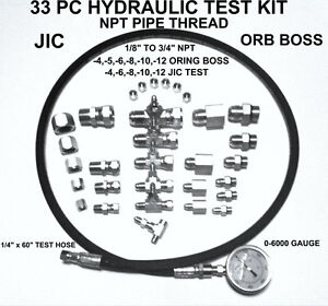 Hydraulic 33 Pc Fast Test Kit 1 8 To 3 4 Npt Jic Orb Tractor Forklift Tester
