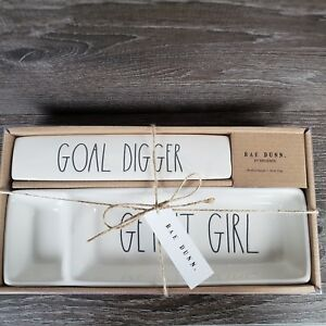 Rae Dunn Desk Organizer Set White Tray Plaque goal Digger get It Girl New