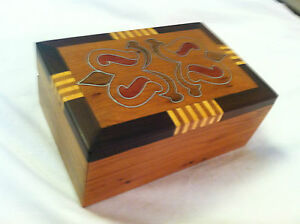 Vintage Wood Trinket Box Detailed With Wood Inlay And Metal Inserts