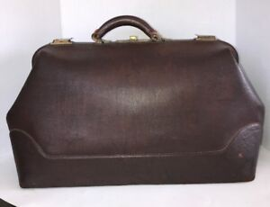 Antique Early 1900 S Brown Cowhide Leather 22 Xl Doctor S Medical Bag