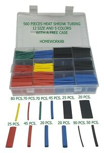 560 Pcs 2 1 Heat Shrink Tubing Tube Sleeving Wrap Cable Wire 5 Colors 12 Sizes