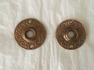 Antique Solid Brass 1880 S East Lake Style Door Knob Rosettes Set Of 2