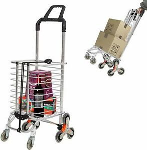 Folding Grocery Cart Stair Climber Shopping Cart With 8 Crystal Wheels 110 Lbs