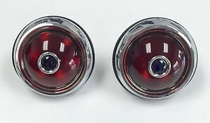 Pair 1950 Pontiac Tail Light Glass Lens With Blue Dots Chrome Housing 12 V