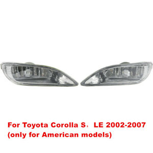 For 2005 2008 Toyota Corolla Camry Solara Front Bumper Lamp Clear Fog Light Pair