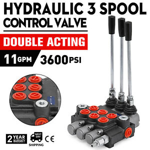 3 Spool Hydraulic Directional Control Valve 11gpm Small Tractors Log Splitters