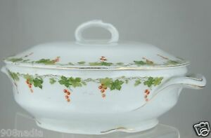 Antique Soup Vegetable Bowl Tureen White Gold Green Grapevine Garland