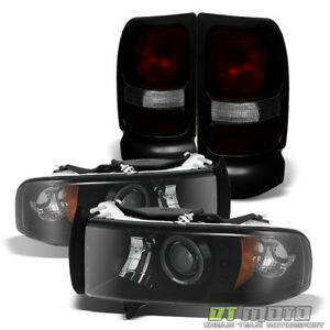 1994 2001 Dodge Ram Halo Projector Headlights Oe Drak Red Tail Lamp Left Right
