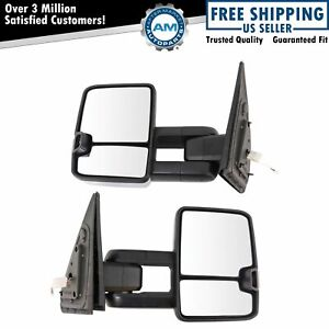 Towing Mirror Upgrade Power Folding Heated Turn Spotlight Chrome Pair For Tundra
