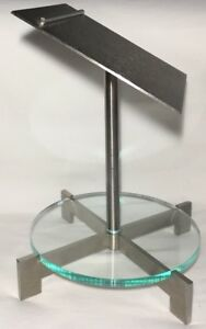 Vtg Jcpenney Retail Display Double Shoe Stand Slant Chrome Metal And Plexiglass