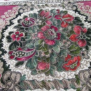 Antique Embroidered Tapestry Runner Table Cover Art Nouveau Botanical Red Green