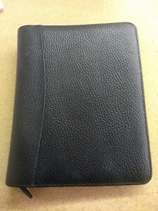 Franklin Quest Covey Black Leather Trim Classic Planner 7 ring