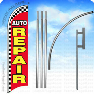 Auto Repair Windless Swooper Flag 15 Kit Feather Banner Sign Checkered Rb