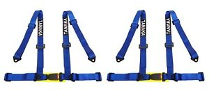 2 X Tanaka 4 Point Buckle Sports Harness Seat Belt Blue