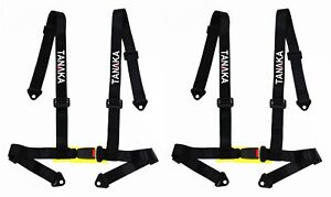 2 X Tanaka 4 Point Buckle Sports Harness Seat Belt Black