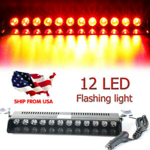 12 Led Car Dash Emergency Strobe Flash Light Bar Police Warning Lamp Red Blue