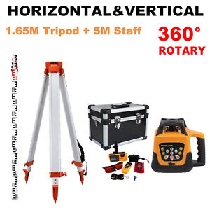Automatic Laser Level Rotary Rotating Self leveling Red Beam W Tripod Staff Set