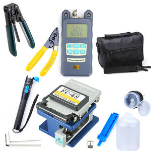 Fiber Optic Ftth Tool Kit Fc 6s Cutter Fiber Cleaver Optical Power Meter 18x Ups
