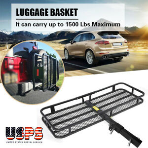 Steel Folding Luggage Cargo Basket Carrier Suv Truck Trailer Receiver Hitch Rack