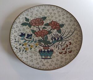 19th C Chinese Cloisonne 9 75 Cabinet Plate Vase With Flowers