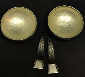 Pair Of Vintage Arts Crafts Hammered Open Salts With Spoons