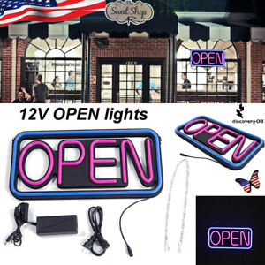 Led Open Sign Rectangular Hang Neon Light Outdoor Business Supplies Waterproof