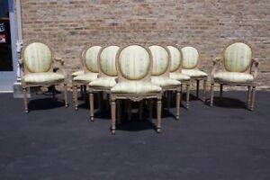Set Of 12 French Louis Xvi Vintage Large Dining Chairs