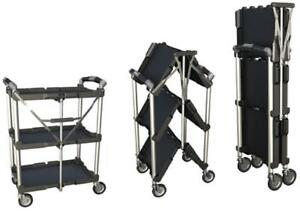 Multi purpose Collapsible Utility Cart 3 shelf With Wheels Black Storage Trolley