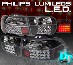 For Black 1992 1995 Honda Civic 2 4dr Led Tail Lights Lamps Left Right
