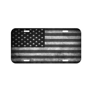 American Flag Black White Vehicle License Plate Front Auto Tag Usa Made Truck