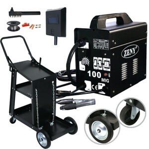 Mig 130 Welder Flux Core Automatic Feed Wire Free Welding Machine With Mask Cart