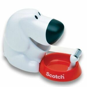Novelty Scotch Tape Dispenser 2in1 Dog Pins Clips Holder W Free Roll Decor New