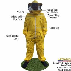 Medium Adult Yellow Quality Beekeeper Beekeeping Pes Bee Suit Round Sheriff Veil