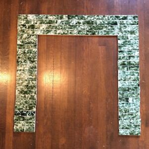 Vintage Antique Victorian Fireplace Tile Surround Mantle Complete Set Green Wht