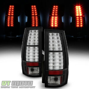 Blk 2007 2014 Chevy Suburban Tahoe Gmc Yukon Lumileds Led Tail Lights Lamps Pair