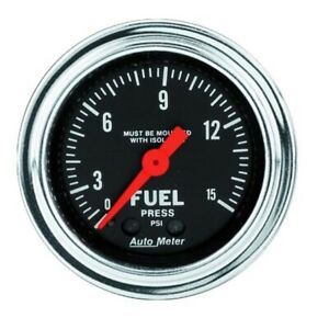 Auto Meter 2413 Traditional Chrome Mech Fuel Pressure W Isolator Gauge