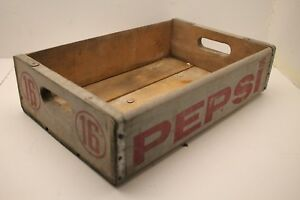 Wooden Vintage Advertising Box Shipping Crate Pepsi 18 X 12 X 5