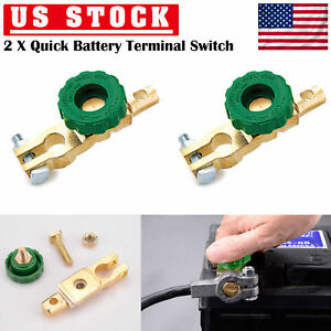 2pcs Brass Car Battery Cut Off Switch Terminal Link Disconnect Master Quick Shut