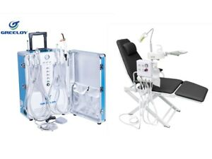Portable Dental Unit With Air Compressor 4 Hole Black Dental Chair Us Stock