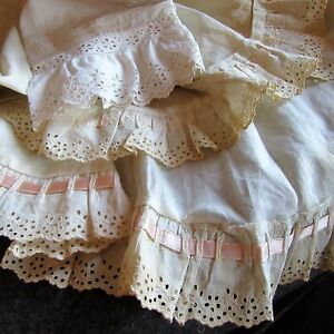 Antique Lot Victorian Skirt Flounce Eyelet Embroidery Petticoat Ribbon Lace Trim
